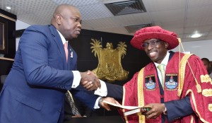 Lagos State Governor, Mr. Akinwunmi Ambode (left), congratulating the newly appointed Vice-Chancellor of Lagos State University, LASU, Prof. Olarenwaju Fagbohun (right), after taking his Oath of Office, at the Conference room, Lagos House, Ikeja, on Monday, January 11, 2016.