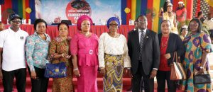 Wife of Lagos State Governor,Mrs. Bolanle Ambode (4th right), with Commissioner for Ministry of Information & Strategy, Mr. Steve Ayorinde (3rd right); his wife, Tope ( 2nd right); General Manager, Lagos Television, Mr. Deji Balogun (left); his counterpart in EKO FM/Radio Lagos, Mrs. Funke Moore (2nd left); members of the Committee of Wives of Lagos State Officials (COWLSO), Mrs. Bunmi Otusanya (3rd left); Mrs. Yetunde Buraimoh (4th left) during the opening ceremony of the 2016 LTV Christmas Fair, at LTV Complex, Agidingbi, Ikeja, on Tuesday, December 6, 2016.