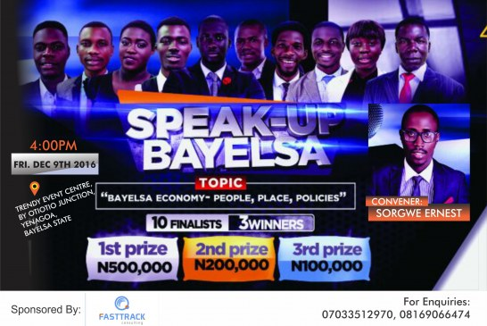 N800, 000 up for grabs at 'Speak Up Bayelsa'