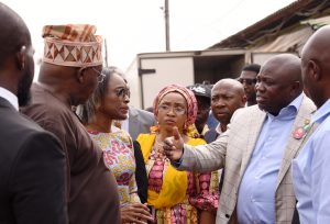 Lagos State Governor, Mr. Akinwunmi Ambode (right), Permanent Secretary, Ministry of Science & Technology, Mr. Abdul-Ahmed Mustapha; Commissioner for Youth & Social Development, Pharm (Mrs) Uzamat Akinbile-Yusuf; former Minister of Communication; Mobola Johnson and Commissioner for Wealth Creation & Employment, Dr. Babatunde Durosanmi-Etti during the Governor's inspection visit to Oyadiran Industrial Estate at Industrial Avenue, Yaba, Lagos, on Wednesday, January 11, 2017.
