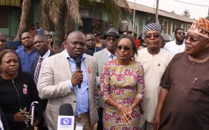 Lagos State Governor, Mr. Akinwunmi Ambode (2nd left), former Minister of Communication; Mobola Johnson (middle); Commissioner for Establishment & Training, Dr. Akintola Benson (2nd right); Commissioner for Wealth Creation & Employment, Dr. Babatunde Durosanmi-Etti (right) and Special Adviser on Urban Development, Mrs. Yetunde Onabule (left) during the Governor's inspection visit to Oyadiran Industrial Estate at Industrial Avenue, Yaba, Lagos, on Wednesday, January 11, 2017.