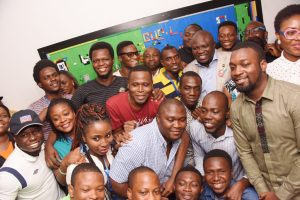 Lagos State Governor, Mr. Akinwunmi Ambode, with I.T entreprenuers during his inspection visit to Andela ICT centre, Yaba, Lagos, on Wednesday, January 11, 2017.
