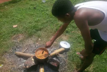 AAU students cook with firewood inside hostel