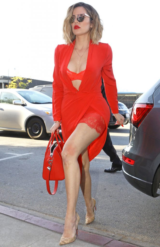 Khloe Kardashian blew everyone away, in a red outfit, on Friday, April 21, 2017  X17online.com