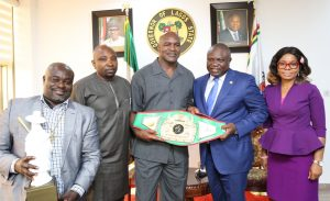 Lagos State Governor, Mr. Akinwunmi Ambode (2nd right), with the former Heavyweight Boxing Champion, Evander Holyfield (middle); CEO, ACI Entertainment, Mr. Wole Adeniyi (2nd left); CEO, Bishop Entertainment Consult, Atlanta Georgia, USA, Mr. B i shop Adejube (left) and Manager, Rumble, Funke Michael (right) during the courtesy visit by the former heavyweight boxing champion at the Lagos House, Ikeja, on Wednesday, May 24, 2017.