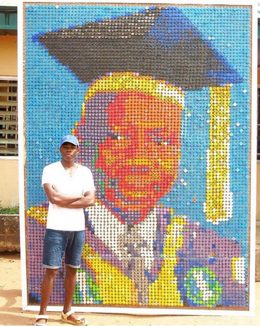 Photos: UNIBEN students made VC's portrait with bottle cover