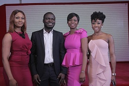 Osas Ighodaro Ajibade; Brand Manager, Imperial Leather, Abiodun Buari; Brand Manager, Beauty, Deedi Modey and Beverly Naya at the launch of Imperial Leather Deodorant Body Spray in Lagos.