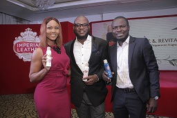 Osas Ighodaro Ajibade; Brand Manager, Cussons Baby, Tobi Oyenekan and Brand Manager, Imperial Leather, Abiodun Buari at the launch of Imperial Leather Deodorant Body Spray in Lagos.