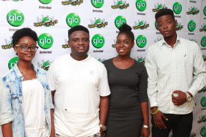 (L-R) Glo subscriber, Shomorin Bukolami, Comedian, Acapella, Glo subscribers, Akiroyemu Esther and Kenny Okunola, at the Abeokuta edition of the ongoing nationwide comedy tour, Glo Laffta Fest, on Sunday.