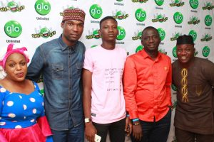 Glo subscriber, Omo Oba Eledua, Comedian, Ojo Ladipupo Daniel, Glo subscriber, Hamzat Oreoluwa, Secretary, Abeokuta North Local Government, Kazeem Olagoke and Comedian, Ogunsina Ayodeji Samuel at the Abeokuta edition of the ongoing nationwide comedy tour, Glo Laffta Fest on Sunday.