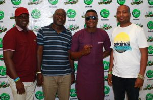 (L-R) Glo subscriber, Hon. Yemi Afolabi, Ogun State Commissioner for Environment, Bolaji Odeleye, Comedian, Bash, and Special Adviser to the Governor on Intergovernmental Affairs Rt. Hon. Tola Banjo, at the Abeokuta edition of the ongoing nationwide comedy tour, Glo Laffta Fest, on Sunday.