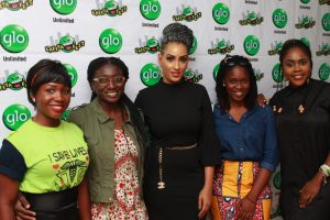 Glo subscribers, Kuyebi Olajumoke, Kafayat Kadiri, actress, Juliet Ibrahim, Glo subscribers, Muibat Ochuwa and Chinonso Ukah at the Abeokuta edition of the ongoing nationwide comedy tour, Glo Laffta Fest on Sunday.