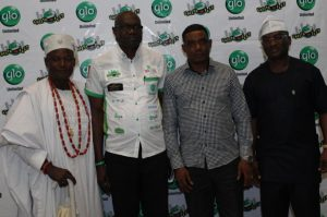 The Olu Aga, Aga Olowo, Oba Kusoro Kayode, Globacom's National Sales Coordinator, Lagos/Ogun, Mr. Akeem Kazeem, Sector Commander, Federal Road Safety Corps (FRSC), Ogun State, Mr. Clement Oladele, and Ogun State Commissioner for Information, Chief Dayo Adeneye, at the Abeokuta edition of the mega comedy show, Glo Laffta Fest, on Sunday.