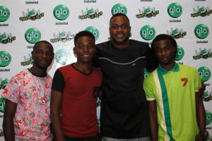 L-R Glo Subscriber and joint winner, Oduwole Segun, runner-up, Tim Olanrewaju, Nollywood actor, Odunlade Adekola and joint winner, Sofidiya Sotunde, after a dance competition for men  at the Abeokuta edition of the mega comedy show, Glo Laffta Fest on Sunday.
