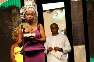 Aypdeji Osowobi picking up The Future Awards Africa 2017 prize for Advocacy