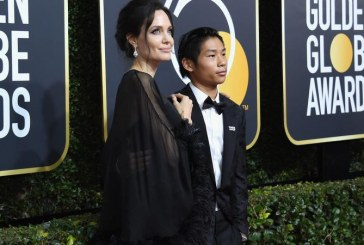 Angelina Jolie Hit the Red Crapet of the Golden Globe 2018 with  Son Pax