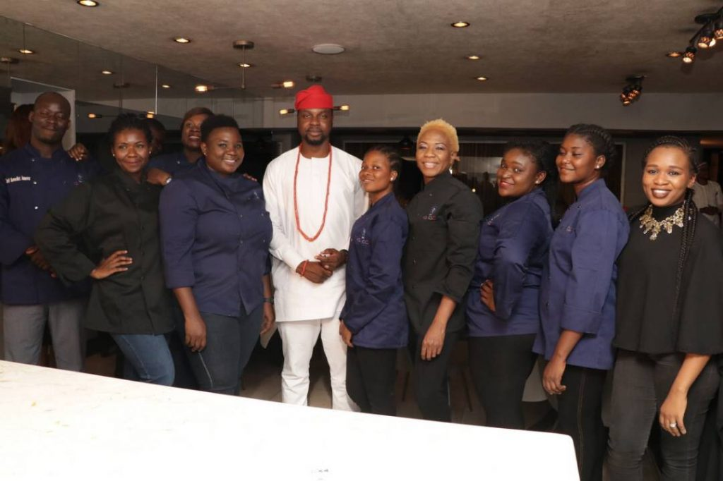 Members of the culinary academy wit Adebola Williams
