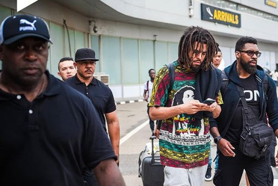 J Cole Lands In Nigeria For Castle Lite Concert