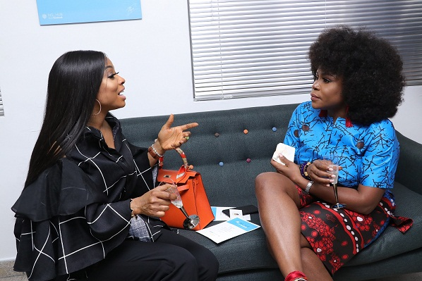 Toke Makinwa and Omawunmi Megbele at the launch of Facebook for Creators in partnership with Afrinolly