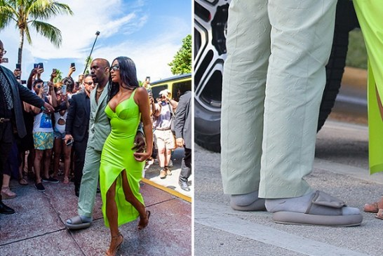 Kanye West Wore Socks with Sandals That Were Several Sizes Too Small, and Twitter Calls Him Out