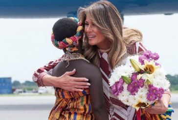 First lady Melania Trump coos over kids in Ghana on solo Africa trip