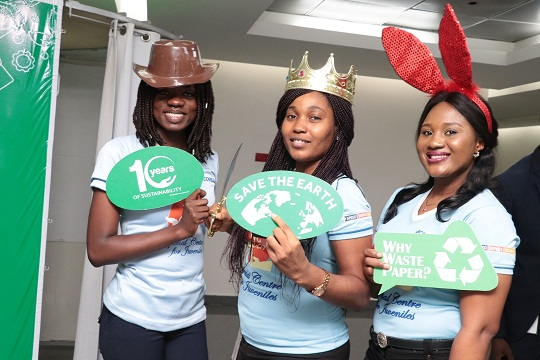 Access Bank Staff at the sustainability Photobooth