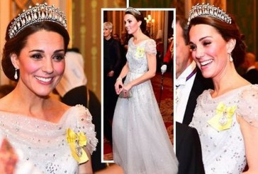Duchess of Cambridge Kate Middleton attended an event at Buckingham Palace looking like a Christmas Angel