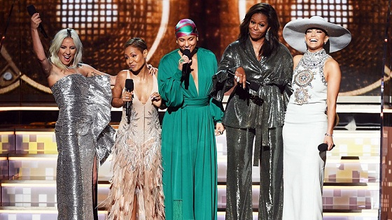 Michelle Obama made a surprise Appearance on Grammy Stage