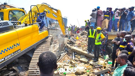 The Lagos State Building Control Agency (LASBCA) has Demolished a Three-story Building in Epetedo