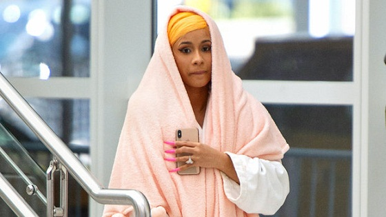Cardi B Went to the Airport in a Hotel Bathrobe