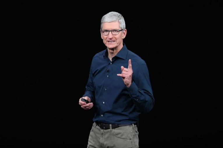 Tim Cook, chief executive officer of Apple,  speaks during an Apple event at the Steve Jobs Theater at Apple Park on September 12, 2018 in Cupertino, California. Apple is expected to announce new iPhones with larger screens as well as other product upgrades.  (Photo by Justin Sullivan/Getty Images)