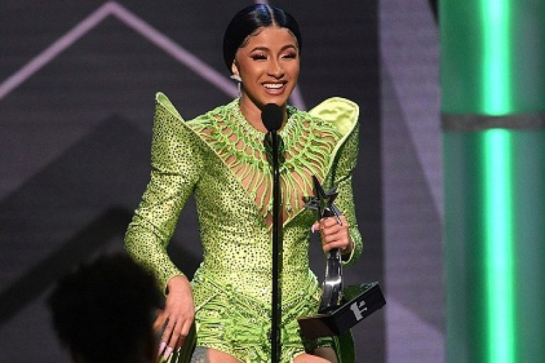 "Mandatory Credit: Photo by Chris Pizzello/Invision/AP/Shutterstock (10320028r) Cardi B accepts the album of the year award for ""Invasion of Privacy"" at the BET Awards, at the Microsoft Theater in Los Angeles 2019 BET Awards - Show, Los Angeles, USA - 23 Jun 2019"