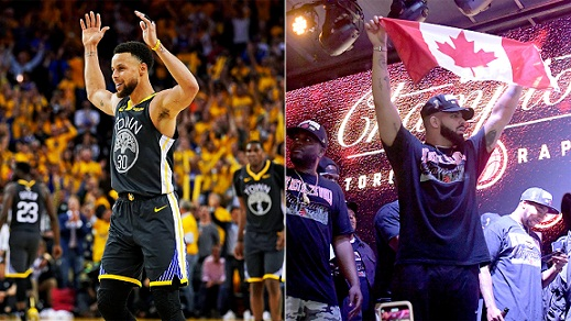 Stephen Curry Congratulates Drake on Raptors Title in postgame call