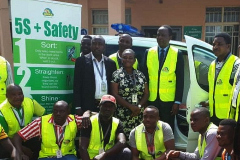 A cross-section Mouka Health & Safety team with the Chief Operating Officer, Mr. Femi Fapohunda at the Kaduna Plant
