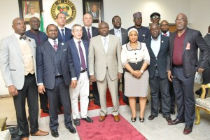 Lagos State Governor, Mr. Akinwunmi Ambode (middle), in a group photograph with Board member, FC Barcelona of Spain, Pau Vilanova i Vila Abadal (3rd left); Commissioner for Sports, Pharm. (Mrs.) Uzamat Akinbile-Yusuf (3rd right); Special Adviser to the Governor on Sports, Mr. Deji Tinubu (2nd right), President, Nigeria Football Federation (NFA), Mr. Amaju Melvin Pinnick (right) and others, during a courtesy visit to the Governor by FC Barcelona of Spain, at the Lagos House, Ikeja, on Monday, February 22, 2016.