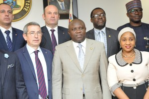 Lagos State Governor, Mr. Akinwunmi Ambode (middle), flanked by Board member, FC Barcelona of Spain, Pau Vilanova i Vila Abadal (left) and Commissioner for Sports, Pharm. (Mrs.) Uzamat Akinbile-Yusuf (right), during a courtesy visit to the Governor, at the Lagos House, Ikeja, on Monday, February 22, 2016. (L-R) Behind are General Manger, Gaton Construction Company, Carlos Gaton; Director, FC Barcelona of Spain, Oscar Grau; Commissioner for Information & Strategy, Mr. Steve Ayorinde and Permanent Secretary, Ministry of Sports, Mr. Hakeem Muri-Okunola.