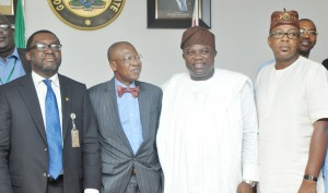 Lagos State Governor, Mr. Akinwunmi Ambode (2nd right), with Minister of Information, Culture & Tourism, Alhaji Lai Mohammed (2nd left), Commissioner for Information & Strategy, Mr. Steve Ayorinde (left) and Commissioner for Tourism, Arts & Culture, Mr. Folarin Coker (right), during a courtesy visit to the Governor by the Minister of Information, at the Lagos House, Ikeja, on Thursday, February 25, 2016.