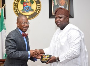 Lagos State Governor, Mr. Akinwunmi Ambode (right), with Minister of Information, Culture & Tourism, Alhaji Lai Mohammed, during a courtesy visit to the Governor, at the Lagos House, Ikeja, on Thursday, February 25, 2016.