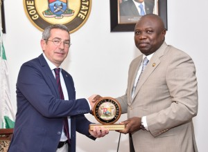 Lagos State Governor, Mr. Akinwunmi Ambode (right), presenting a State plaque to the Board member of FC Barcelona of Spain, Pau Vilanova i Vila Abadal, during a courtesy visit to the Governor, at the Lagos House, Ikeja, on Monday, February 22, 2016.