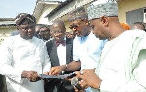 L-R: Lagos State Governor, Mr. Akinwunmi Ambode; Minister of Information, Culture & Tourism, Alhaji Lai Mohammed; Commissioner for Tourism, Arts & Culture, Mr. Folorunsho Folarin Coker and the Director General, National Commission for Museums & Monuments, Mallam Abdallah Yusuf during a joint inspection visit  to the National Museum, Onikan, Lagos, on Monday, March 07, 2016.
