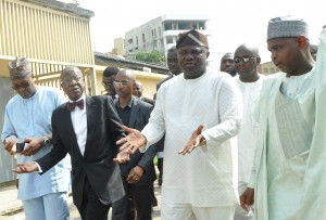 R-L: Lagos State Governor, Mr. Akinwunmi Ambode; Minister of Information, Culture & Tourism, Alhaji Lai Mohammed; Director General, National Commission for Museums & Monuments, Mallam Abdallah Yusuf and Commissioner for Tourism, Arts & Culture, Mr. Folorunsho Folarin Coker during a joint inspection visit  to the National Museum, Onikan, Lagos, on Monday, March 07, 2016.