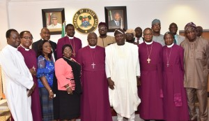 Lagos State Governor, Mr. Akinwunmi Ambode (4th right), Deputy Governor, Dr. (Mrs.) Oluranti Adebule (4th left) in a group photograph with Archbishop of Ecclesiastical Province of Lagos, Lagos Mainland Diocese, Most Reverend Adebayo Dada Akinde, members of the Governing Council of  Babington Macaulay Junior Seminary, Ikorodu and some members of the State Executive Council during a thank you courtesy visit to the Governor  by Governing Council  of the School and the Parents of the rescued students, at the Lagos House, Ikeja, on Monday, March 07, 2016.
