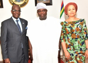 Lagos State Governor, Mr. Akinwunmi Ambode (middle), with Director General, Nigeria Employers' Consultative Association (NECA), Mr. Olusegun Oshinowo (left) and Founder, Ruff & Tumble, Mrs. Adenike Ogunlesi (right) during a courtesy call to the Governor by Management of NECA, at the Lagos House, Ikeja, on Thursday, March 17, 2016.