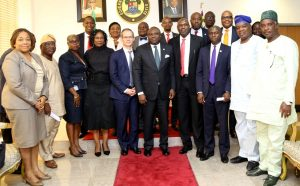 Lagos State Governor, Mr. Akinwunmi Ambode (5th right), in a group photograph with Managing Director/C.E.O, Total E&P Nigeria Limited, Mr. Nicolas Terraz (5th left); Deputy Managing Director, Deep Water District, Total E&P Nigeria Limited, Mr. Ahmadu-Kida Musa (4th right); Commissioner for Energy & Mineral Resources, Mr. Wale Oluwo (3rd right) and others during a courtesy visit to the Governor by Total E&P Nigeria Limited, at the Lagos House, Ikeja on Wednesday, June 22, 2016.