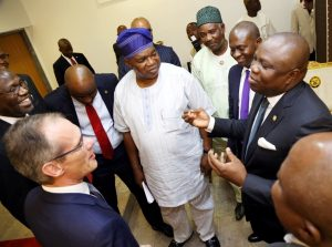 R-L: Lagos State Governor, Mr. Akinwunmi Ambode; Commissioner for Energy & Mineral Resources, Mr. Wale Oluwo; Special Adviser to the Governor on Commerce, Mr.  Adeyemi Olabinjo; Commissioner for Wealth Creation & Employment, Mr. Babatunde Durosinmi-Etti;  Deputy Managing Director, Deep Water District, Total E&P Nigeria Limited, Mr. Ahmadu-Kida Musa and Managing Director/C.E.O, Total E&P Nigeria Limited, Mr. Nicolas Terraz during a courtesy visit to the Governor by Total E&P Nigeria Limited, at the Lagos House, Ikeja on Wednesday, June 22, 2016.