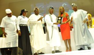 Lagos State Governor, Mr. Akinwunmi Ambode (3rd left); Speaker, Lagos State House of Assembly, Rt. Hon. Mudashiru Obasa; Wife of Lagos State Governor & COWLSO, Mrs. Bolanle Ambode; Osun State Governor, Ogbeni Rauf Aregbesola, presenting the award of 2016 Inspirational Woman of the Year to the Chief Executive Officer, House of Tara International, Mrs. Tara Fela-Durotoye and Oyo State Governor, Senator Abiola Ajimobi during the opening ceremony of the 16th National Women Conference  with the theme 'Strong Family, Strong Nation' organized by COWLSO, at the Convention Centre, Eko Hotel & Suites on Monday,  October 24, 2016.
