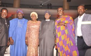 L-R:  King of World Beat, King Sunday Adegeye (KSA); Governor of Lagos State, Mr. Akinwunmi Ambode; his wife Bolanle; Minister of Information, Art and Culture, Alhaji Lai Mohammed; King of comedy, Alibaba and the President/Executive Producer, All Africa Music Awards (AFRIMA), Mike Dada, during the 2016 AFRIMA award night, at the Convention Centre,  Eko Hotels, Lagos……recently.