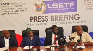 Commissioner for Wealth Creation & Employment, Dr. Babatunde Durosinmi-Etti addressing journalists during a media briefing on the activities of Lagos State Employment Trust Fund (LSETF) at the Bagauda Kaltho Press Centre, the Secretariat, Alausa, Ikeja, on Monday, November 7, 2016. With him are Executive Secretary of Lagos State Employment Trust Fund (LSETF), Mr. Akintunde Oyebode; Chairman, House Committee on Wealth Creation & Employment, Hon. Sola Giwa and Permanent Secretary, Ministry of Wealth Creation & Employment, Mr. Abdul-Ahmed Mustapha.