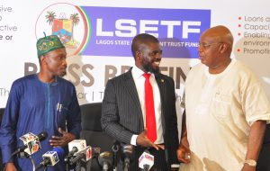 Commissioner for Wealth Creation & Employment, Dr. Babatunde Durosinmi-Etti; Executive Secretary of Lagos State Employment Trust Fund (LSETF), Mr. Akintunde Oyebode and Chairman, House Committee on Wealth Creation & Employment, Hon. Sola Giwa during a media briefing on the activities of LSETF at the Bagauda Kaltho Press Centre, the Secretariat, Alausa, Ikeja, on Monday, November 7, 2016.