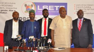 L-R: Permanent Secretary, Ministry of Wealth Creation & Employment, Mr. Abdul-Ahmed Mustapha; Chairman, House Committee on Wealth Creation & Employment, Hon. Sola Giwa; Executive Secretary of Lagos State Employment Trust Fund (LSETF), Mr. Akintunde Oyebode; Commissioner for Wealth Creation & Employment, Dr. Babatunde Durosinmi-Etti and Chief Press Secretary to the Governor, Mr. Habib Aruna during a media briefing on the activities of LSETF at the Bagauda Kaltho Press Centre, the Secretariat, Alausa, Ikeja, on Monday, November 7, 2016.